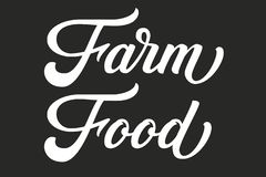 Hand drawn lettering Farm Food. Vector Ink illustration. Typography poster on black background. Organic, natural farm vector illustration