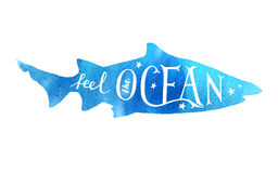 Hand drawn lettering - feel the ocean. Hand drawn lettering in shark silhouette - feel the ocean stock illustration