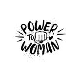 Hand Drawn Lettering Girl Power Feminist Slogan. Feminist slogan Power to Woman and fist isolated on a white background. Hand drawn brush ink lettering Royalty Free Stock Photo