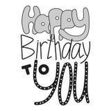 Hand drawn lettering, happy birthday, congratulation Royalty Free Stock Photo