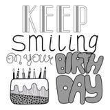 Hand drawn lettering, happy birthday, congratulation Royalty Free Stock Photos