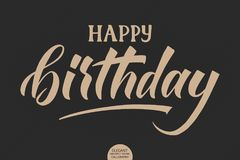 Hand drawn lettering - Happy birthday. Elegant modern handwritten calligraphy card. Vector Ink illustration. Typography Royalty Free Stock Photos