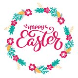 Hand drawn lettering Happy Easter wreath with flowers, branches and leaves. vector illustration. Design for wedding Stock Images