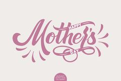Hand drawn lettering - Happy Mothers Day. Elegant modern handwritten calligraphy. Vector Ink illustration. Typography vector illustration