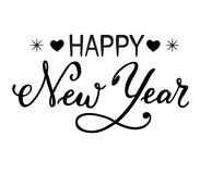 Hand drawn lettering of Happy New Year isolated on a white background. Hand drawn brush calligraphy lettering of Happy New Year isolated on a white background stock illustration
