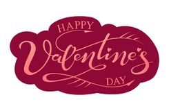 Hand drawn lettering Happy Valentine`s day Stock Image