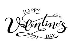 Hand drawn lettering Happy Valentine`s day royalty free illustration