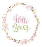Hand drawn lettering Hello Spring in the oval frame Royalty Free Stock Images