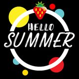 Hand drawn lettering hello summer with bright background. Abstra. Ct design card for prints, flyers, banners, invitations, special offer and more. Pattern and stock illustration