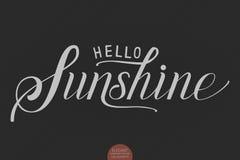 Hand drawn lettering Hello Sunshine. Elegant modern handwritten calligraphy. Vector Ink illustration. Stock Images