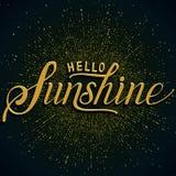 Hand drawn lettering Hello Sunshine. Elegant modern handwritten calligraphy. Vector Ink illustration. Typography poster on dark background with blast of Royalty Free Stock Photo