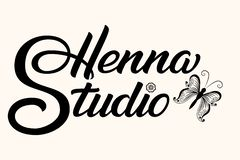 Hand drawn lettering Henna Studio. Vector Ink illustration. Template for tattoo or mehndi studio. Elegant lettering with stock photos
