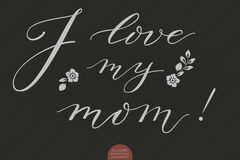 Hand drawn lettering - I love my mom. Elegant modern handwritten calligraphy. Vector Ink illustration. Typography poster Royalty Free Stock Photos