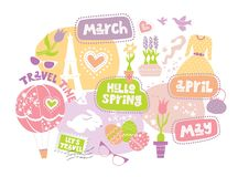 Hand-drawn lettering and illustration, April, March, May. Travel time, Lets travel lettering, spring flowers in pots, Easter eggs, balloon, sunglasses, heart royalty free illustration