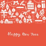Happy New Year Greeting Card. Hand Drawn Lettering Illustration. Hand Drawn Lettering Illustration for 2018 Happy New Year with Christmas Doodles Royalty Free Stock Photography