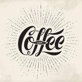 Hand-drawn lettering inscription Coffee Love on watercolor background. Typographic and calligraphic. Royalty Free Stock Photography