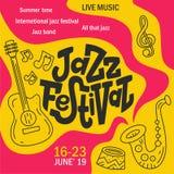 Hand drawn lettering Jazz festival poster stock illustration