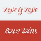 Hand drawn lettering. Love is Love and Love Wins. LGBT community design. Vector lettering for t-shirts, wedding invitations, posters Stock Illustration