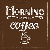 Hand drawn lettering `Morning coffee` with charcoal effect and view of a cup of coffee with steam on brown background. EPS8. Hand drawn lettering `Morning coffee Stock Photo