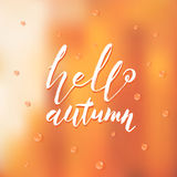Hand drawn lettering of a phrase Hello autumn. Vector illustration. Blurred background. Stock Images