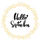 Hand drawn  lettering phrase hello september Royalty Free Stock Images