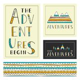 Set of stylish outdoor cards template. The adventures begin Royalty Free Stock Photography
