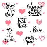 Hand drawn lettering phrases about love set, isolated on the white background with hearts. Fun brush ink inscriptions for Valentin stock illustration