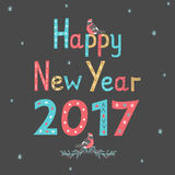 Hand drawn lettering poster Happy New Year 2017. Greeting card. Vector illustration Royalty Free Stock Images