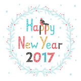 Hand drawn lettering poster Happy New Year 2017. Greeting card. Vector illustration Stock Photo