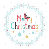 Hand drawn lettering poster Merry Christmas. Greeting card. Vector illustration Stock Photo
