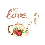 Hand drawn lettering poster with tea and phrase Royalty Free Stock Photos