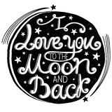 Hand drawn  lettering quote I love you Stock Photos