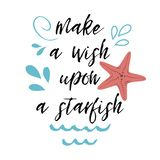 Hand drawn lettering quote Sea star beach summer Vector banner. Hand drawn lettering quote Sea Star Beach Summer poster with text, water splashes blue sea waves royalty free illustration