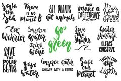 Hand drawn lettering quotes about ecology and nature collections isolated on the white background. Fun brush ink vector royalty free illustration