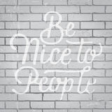 Hand drawn lettering slogan on brick wall background Stock Photo