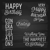 Hand drawn lettering slogans for Birthday Stock Photos