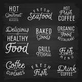 Hand drawn lettering slogans for cafe and restaurant Royalty Free Stock Photography