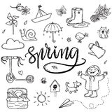 Hand drawn lettering spring funny graphic set. Umbrella Royalty Free Stock Photos