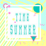Hand drawn lettering summer time with bright background. Abstract design card for prints, flyers, banners, invitations, special. Stock Photo