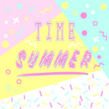 Hand drawn lettering summer time with bright background.. Abstract design card for prints, flyers, banners, invitations, special offer and more. Pattern and Stock Images
