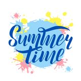 Hand drawn lettering summer time Vector logo royalty free illustration