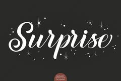 Hand drawn lettering - Surprise decorated with stars. Elegant modern handwritten calligraphy. Vector Ink illustration Royalty Free Stock Photos