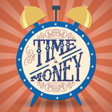 Hand- drawn lettering. Time is money. Handmade Typographic Art for Poster Print Greeting Card T shirt apparel design, hand crafted vector illustration. Made in Stock Photos