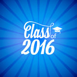 Hand drawn lettering typography Class of 2016. Graduation icon lable. Lettering for graduation design, congratulation. Party. High school or college graduate Stock Image