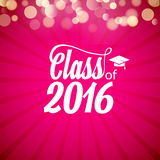Hand drawn lettering typography Class of 2016. Graduation icon lable. Lettering for graduation design, congratulation. Party. High school or college graduate Stock Photos