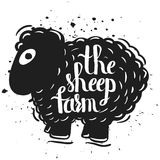 Hand drawn lettering typography poster the silhouette of a sheep isolated on a white background. Rural life. Farm sheep Royalty Free Stock Photos