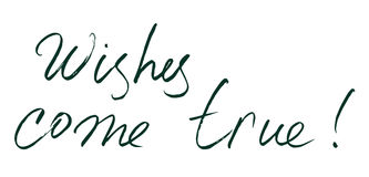 Hand drawn lettering. Wishes come true. vector  Stock Photography
