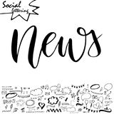 Hand drawn lettering word with set of social media elements. Vector illustration Stock Photo