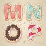 Hand drawn letters of the alphabet M through P Royalty Free Stock Image