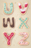 Hand drawn letters of the alphabet U through Z. In the shape of delicious and colorful cookies Stock Photography